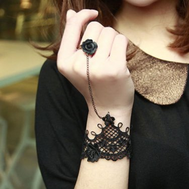 A PAIR GOTH BLACK LACE ROCOCO SLAVE BRACELET WITH BLACK ROSE GLOVES