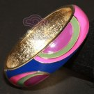 ETHNIC AISAN ENAMEL BLUE PURPLE GOLD  COPPER WAIST CUFF BRACELET BANGLE