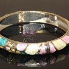 ETHNIC ENAMEL PINK GOLD COPPER RHINESTONE CRYSTAL WAIST CUFF BRACELET BANGLE