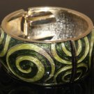 ETHNIC AISAN ENAMEL GREEN GOLD  COPPER WAIST CUFF BRACELET BANGLE