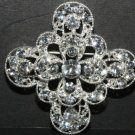 RHINESTONE CRYSTAL BRIDAL WEDDING SASH CROSS CRAFT RHOMDIUM SILVER BROOCH PIN