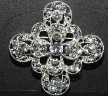 RHINESTONE CRYSTAL BRIDAL WEDDING SASH CROSS CRAFT RHOMDIUM SILVER BROOCH PIN