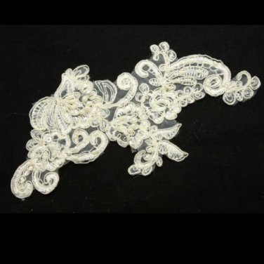LOT OF 4 WEDDING CRAFT EMBROIDERY BEADED ROSE APPLIQUE FRENCH COUTURE PATCH