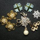 MIX GOLD/SILVER BRIDAL BOUQUET CRYSTAL RHINESTONE BUTTON WEDDING BROOCH PIN