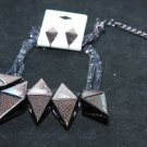 FASHION RHINESTONE CRYSTAL COPPER PRISM EARRINGS NECKLACE SET