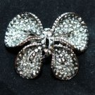 BUTTERFLY BLACK RHINESTONE CRYSTAL BRIDAL WEDDING BROOCH PIN
