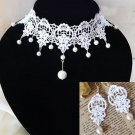 White Lace Ivory Pearl Gothic Choker Necklace Earrings Victorian Bridal Wedding
