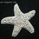 CHRISMAS BEACH SEA STAR STARFISH CRYSTAL RHINESTONE WEDDING HAIR ALLIGATOR CLIP