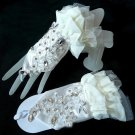 IVORY LACE WEDDING BRIDAL BRIDES SEQUIN RHINESTONE CRYSTAL SHORT GLOVES