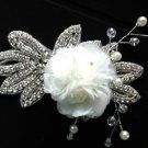 SILK FLOWER LEAVES CRYSTAL RHINESTONE WEDDING HAIR ALLIGATOR CLIP