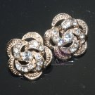 6 pcs WEDDING DECORATION SILVER or GOLD RHINESTONE CRYSTAL FLOWER ROSE BUTTONS