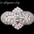 BEADED GLASS CRYSTAL RHINESTONE WEDDING FAUX PEARL HAIR ALLIGATOR CLIP