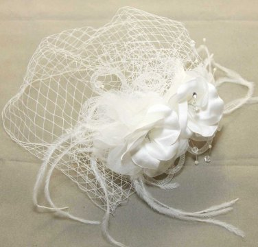 WEDDING BRIDAL RHINESTONE PEARL FLOWERS BRIDCAGE NET VEIL COVER MASK HAIR COMB