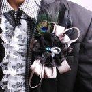 BLACK RIBBON SMART MEN WEDDING BOUTONNIERE PEACOCK FEATHER CLIP BROOCH PIN