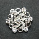 VINTAGE FLOWER BOUQUET WEDDING BRIDAL CAKE CLEAR RHINESTONE CRYSTAL BROOCH PIN