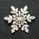 RHINESTONE CRYSTAL BRIDAL WEDDING SNOW FLOWER BOUQUET CLUSTER SILVER BROOCH PIN