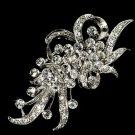 WHISPER RHODIUM FLOWER SPRAY BRIDAL WEDDING RHINESTONE CRYSTAL HAIR BROOCH PIN