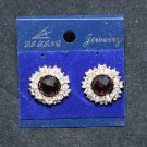 FASHION WEDDING PURPLE RHINESTONE CRYSTAL ROUND STUD EARRINGS
