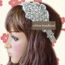 FAUX PEARL CRYSTAL RHINESTONE WEDDING RIBBON APPLIQUE WHTIE RIBBON HEADBAND