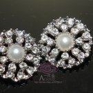 LOT OF 4 FAUX PEARL CLEAR RHINESTONE CRYSTAL SILVER TONE ROUND BUTTONS