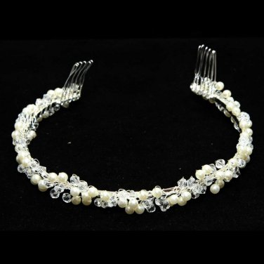 WEDDING BRIDAL RHINESTONE CRYSTAL FRESHWATER PEARL CROWN TIARA HEADBAND COMB