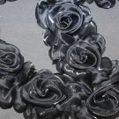 BLACK WEDDING CRAFT ORGANZA DRESS FLOWER FLORAL ELASTIC LONG TRIM - 1 YARD