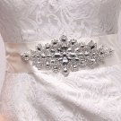 "2"" WHITE ORGANZA/SATIN RIBBON CRYSTAL RHINESTONE WEDDING SASH BELT 3 YARDS"
