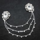SILVER TONE CLEAR RHINESTONE CRYSTAL WEDDING SHRUG GUARD SWEATER CHAIN PINS