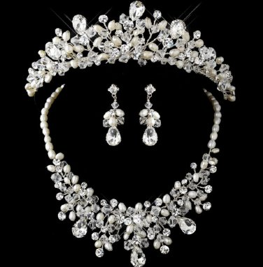 WEDDING BRIDAL RHINESTONE CRYSTAL FRESHWATER PEARL HAIR CROWN EARRINGS NECKLACE