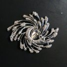 PEACOCK CLEAR RHINESTONE CRYSTAL WEDDING BRIDAL SILVER TONE BROOCH