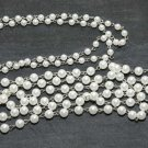 1 YARD FAUX PLASTIC WHITE PEARL DIY SILVER HOOK METAL CHAIN 6mm/8mm