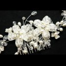 GOLD FLOWER BRIDAL WEDDING BRIDES PEARL RHINESTONE CRYSTAL TIARA HAIR COMB