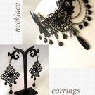 GOTHIC BLACK LACE DANGLE CHARM LOLITA NECKLACE EARRINGS SET