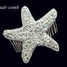 CHRISMAS BEACH SEA STAR STARFISH CRYSTAL RHINESTONE WEDDING HAIR COMB