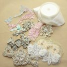 MIXED CRAFT - BRIDAL BOUQUET CRYSTAL RHINESTONE BUCKLE BUTTON LACE PIN RIBBON