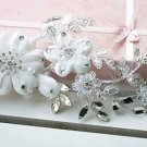BRIDAL WEDDING RHINESTONE CRYSTAL EMBROIDERY APPLIQUE LACE/HAIR CLIPS