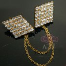 GOLD TONE RHINESTONE CRYSTAL WEDDING SHRUG GUARD SWEATER CHAIN CLIP