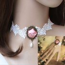 HANDCRAFT WHITE LACE APPLIQUE ROSE PENDANT GOTH EVENING DRESS NECKLACE BRACELET