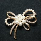 PEARL BOW BUTTERFLY RHINESTONE CRYSTAL GOLD WEDDING BRIDAL BROOCH PIN