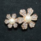 FLOWER TWINS RHINESTONE CRYSTAL GOLD WEDDING BRIDAL PEARL CAKE BROOCH PIN