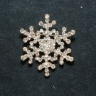 RHINESTONE CRYSTAL BRIDAL WEDDING SNOW FLOWER BOUQUET WINTER GOLD BROOCH PIN