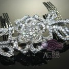 LOT OF 6 ROSE BRIDAL WEDDING BRIDES SILVER RHINESTONE CRYSTAL TIARA HAIR COMB
