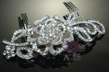 LOT OF 6 ROSE BRIDAL WEDDING BRIDES SILVER RHINESTONE CRYSTAL TIARA HAIR COMB