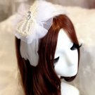 LACE BRIDAL WEDDING BRIDES RHINESTONE CRYSTAL FEATHER PEARL HEADBAND