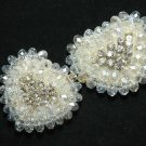 A PAIR OF  BEADED GLASS CRYSTAL RHINESTONE WEDDING HEART SHOES APPLIQUES