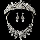 WEDDING BRIDAL RHINESTONE CRYSTAL FAUX PEARL HAIR CROWN EARRINGS NECKLACE