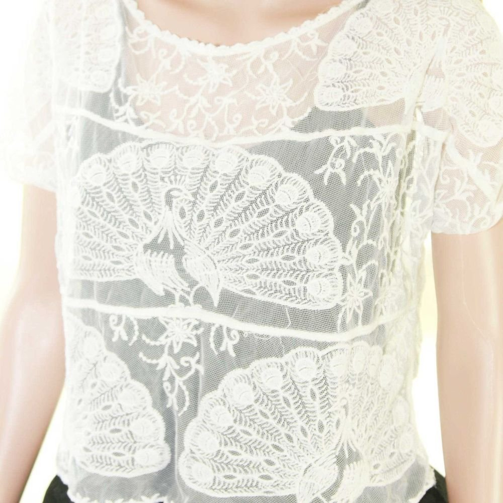 SEXY ELEGANT LACE EMBROIDERY PEACOCK WHITE VINTAGE STYLE BLOUSE