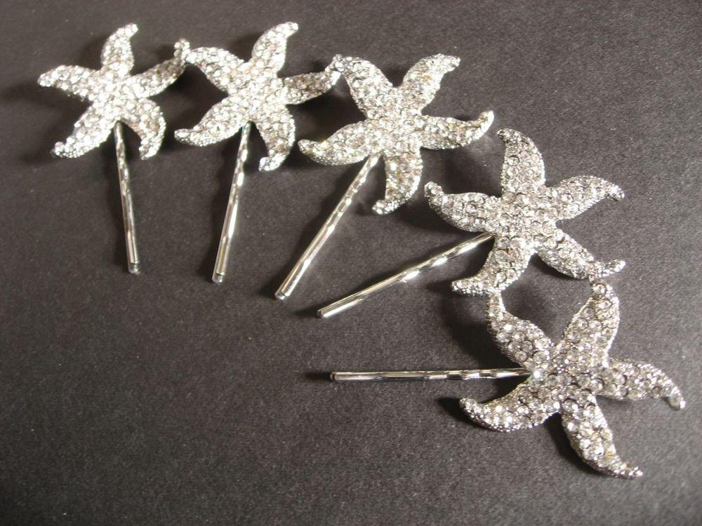 LOT OF 2 STARFISH BRIDAL WEDDING BRIDES RHINESTONE CRYSTAL HAIR PIN