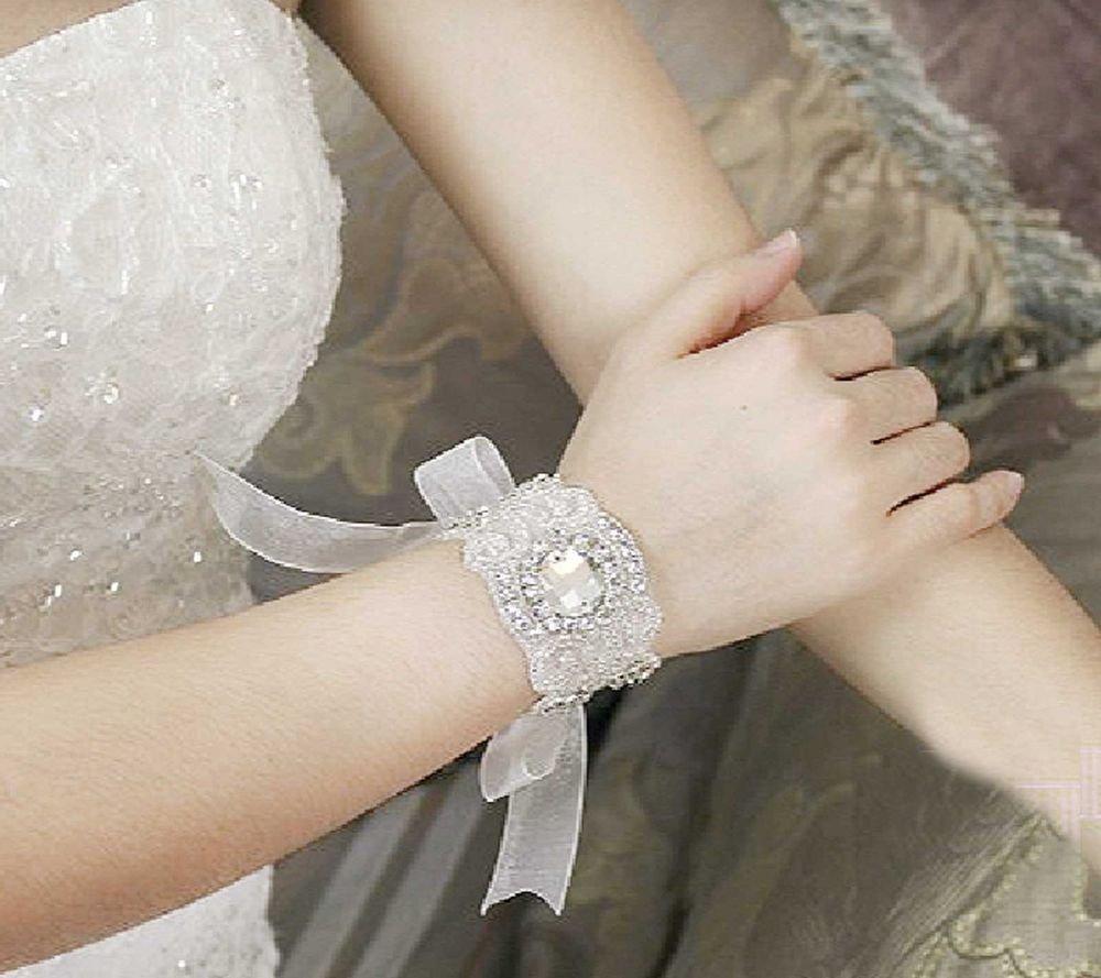 RHINESTONE CRYSTAL WEDDING BRIDAL BRIDE HANDMADE APPLIQUE ORGANZA BRACELET