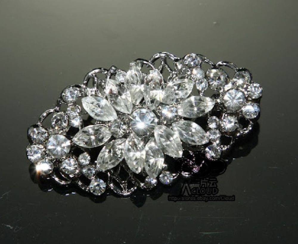 WEDDING BRIDAL RHINESTONE CRYSTAL GLASS OVAL CRAFT SMALL BROOCH PIN